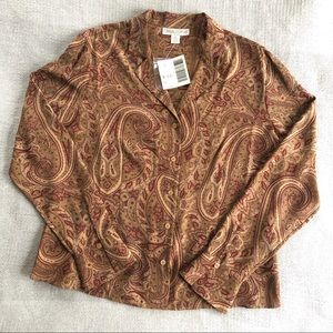 NWT Casual Corner Silk Paisley Button Down Shirt